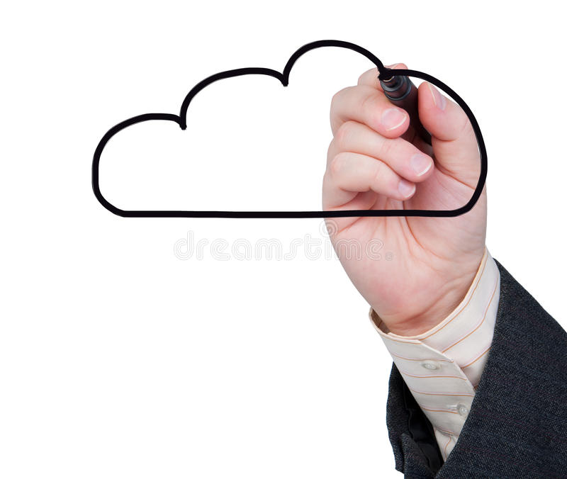 A mão com marcador desenha uma nuvem no fundo branco. fotos de stock royalty free
