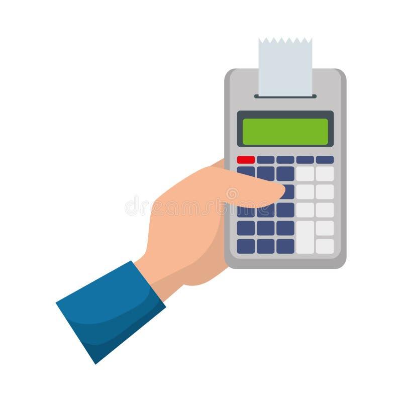Mão com matemática da calculadora ilustração stock