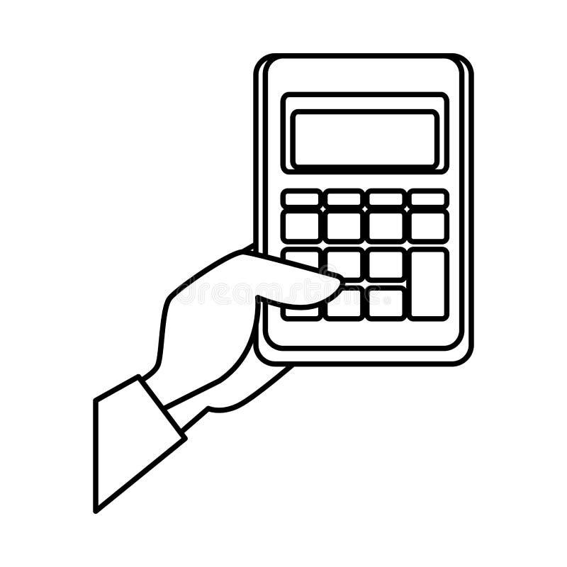 Mão com matemática da calculadora ilustração do vetor