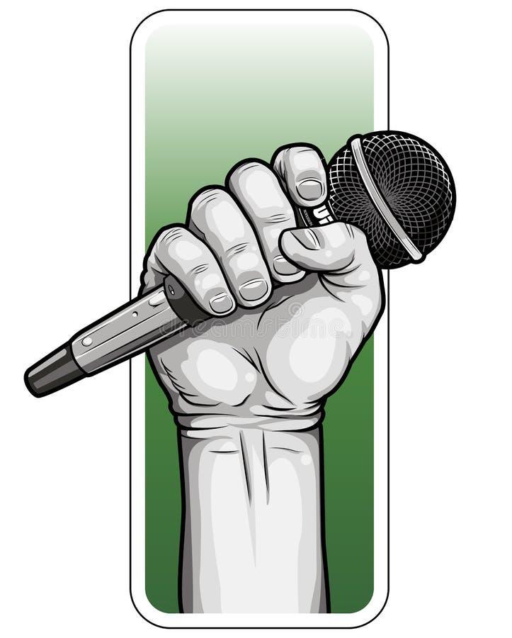 Mão com microfone ilustração royalty free