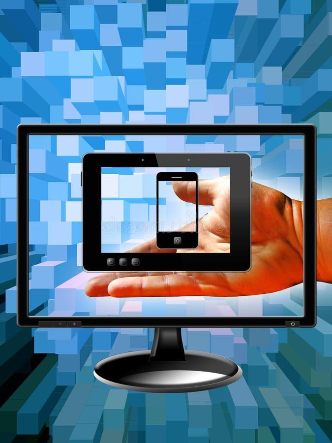 Mão com monitor, telefones celulares e a tabuleta modernos imagens de stock
