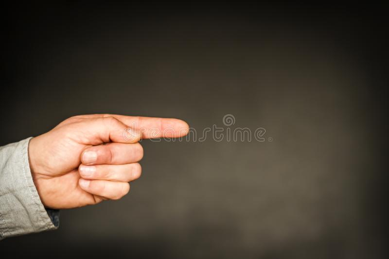 Mão com o indicador prolongado imagem de stock