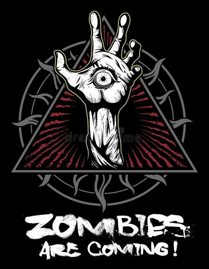 Mão com o olho, logotipo do zombi do vetor ilustração stock