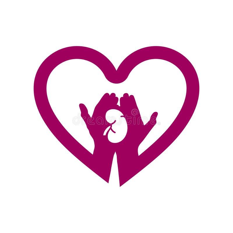 Mão com o rim no logotipo do ícone do coração Conceito do amor seus rins ilustração royalty free