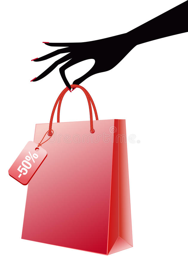 Mão com o saco de compra vermelho,   ilustração do vetor