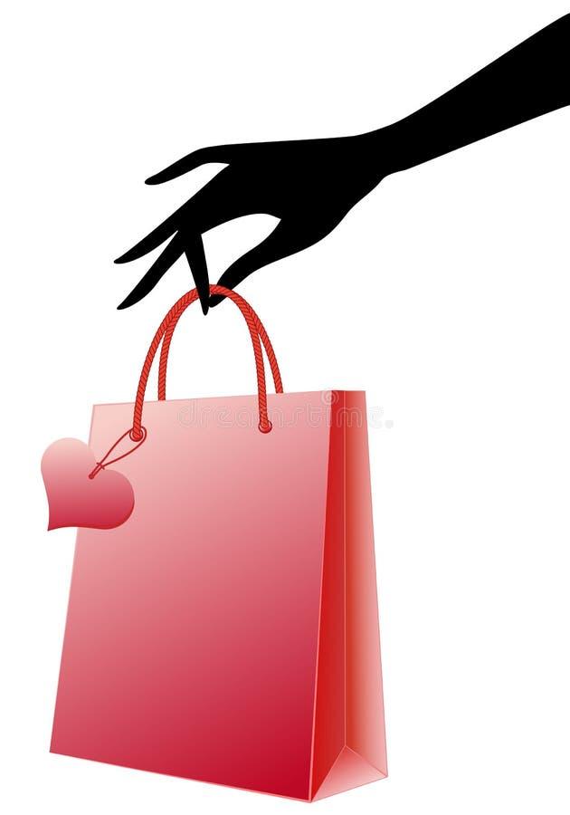 Mão com o saco de compra vermelho,   ilustração stock
