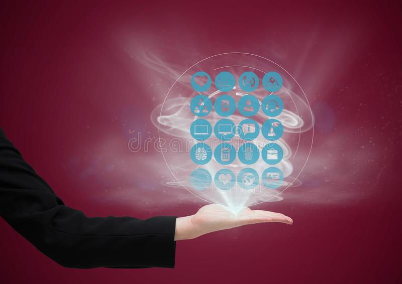 mão com os ícones da aplicação que vêm acima dela Escuro - fundo vermelho ilustração royalty free