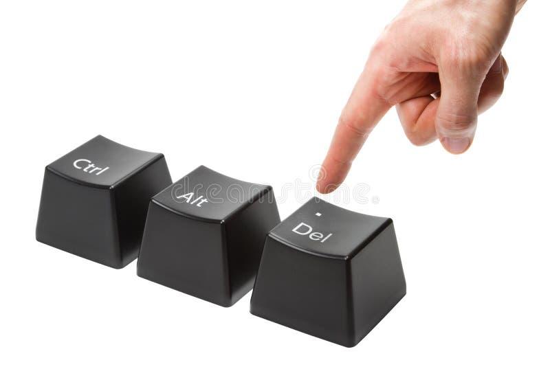 A mão com os puxões do indicador empurra a chave de supressão foto de stock royalty free
