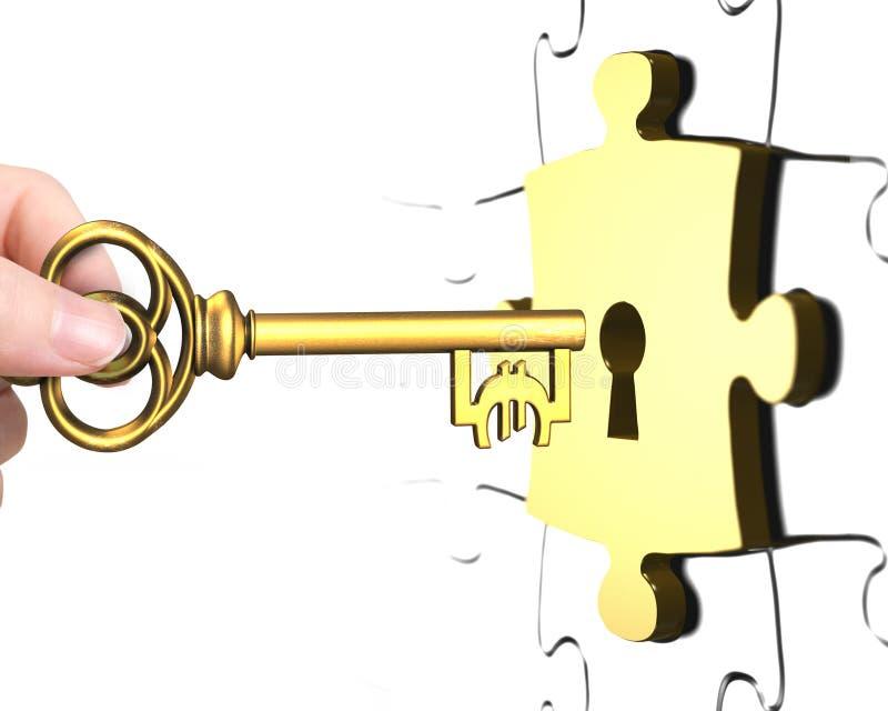 Mão com parte do enigma do fechamento aberto da chave do sinal do Euro ilustração royalty free
