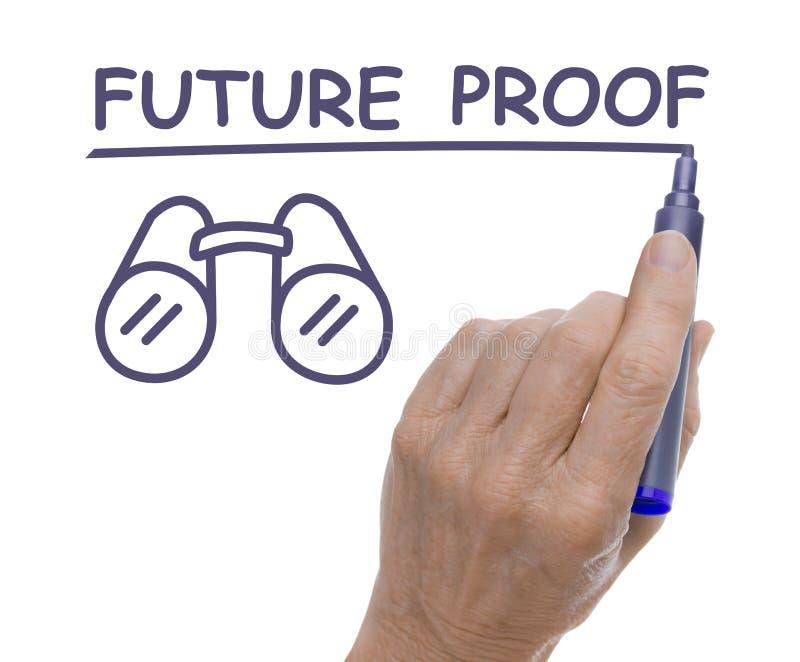 Mão com Pen Drawing Future Proof e os binóculos fotografia de stock