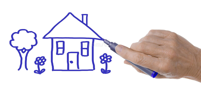 Mão com Pen Drawing House e a árvore imagem de stock