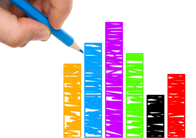 Mão com a pena azul que desenha um gráfico do colorfull imagem de stock