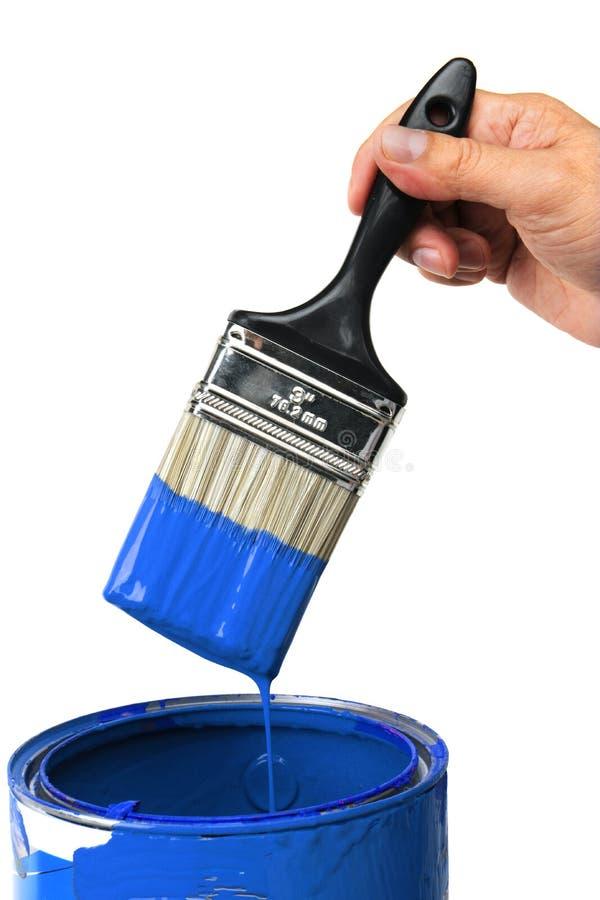 Mão com pintura azul imagem de stock royalty free