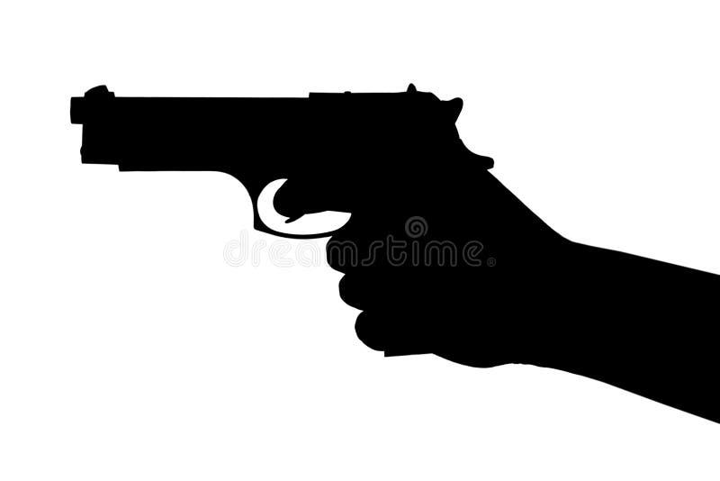Mão com pistola ilustração do vetor