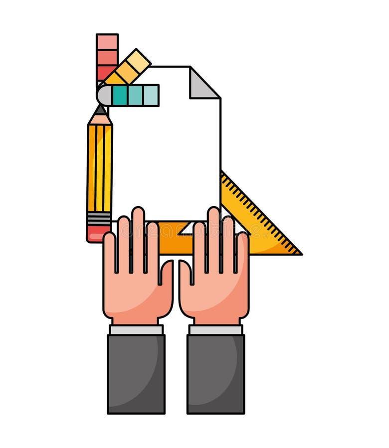 Mão com régua e ícones métricos ilustração do vetor