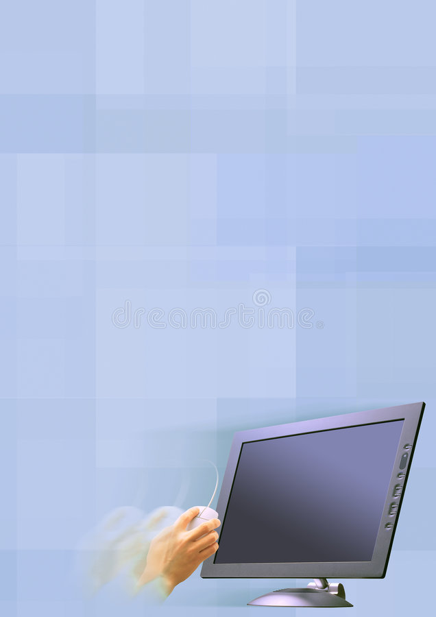 Mão com rato e tela foto de stock