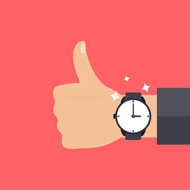 Mão com relógio moderno ilustração royalty free