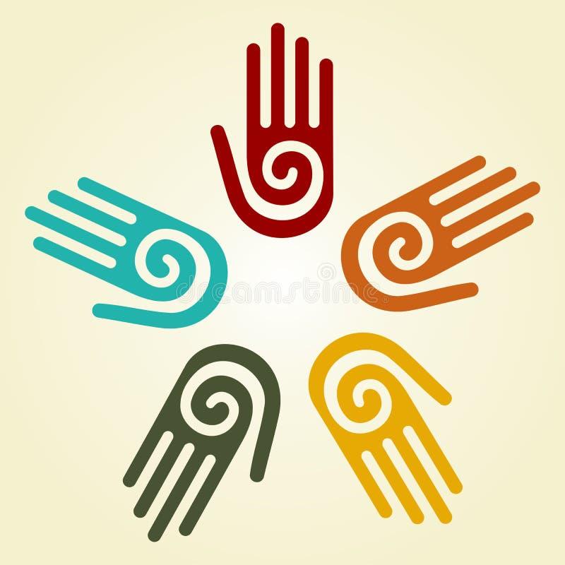 Mão com símbolo espiral em um círculo