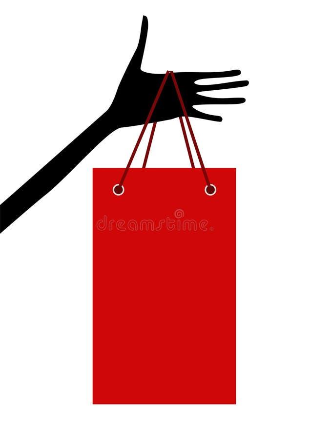 Mão com saco de compra ilustração stock
