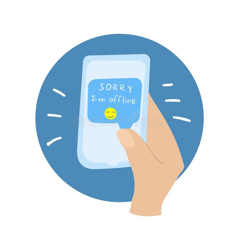 Mão com telefone Mensagem pesarosa, mim 'off-line com emoticon ilustração stock