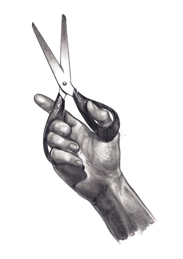Mão com tesouras ilustração stock
