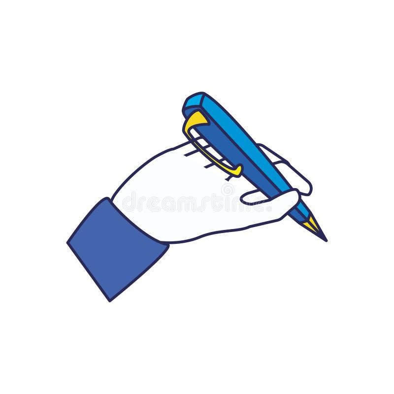 Mão com tinta da pena para escrever o ícone ilustração royalty free