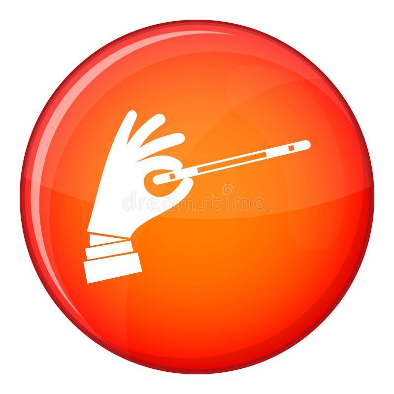 Mão com um ícone mágico da varinha, estilo liso do mágico ilustração do vetor