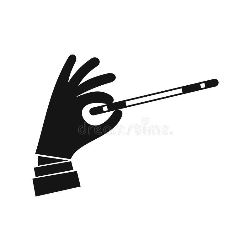 Mão com um ícone mágico da varinha, estilo simples do mágico ilustração do vetor