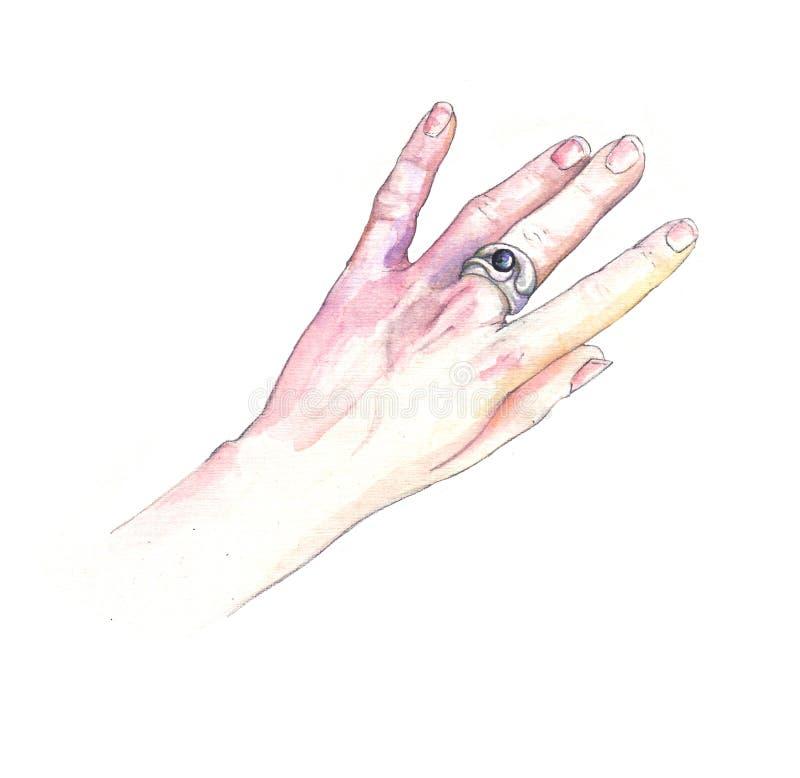 Mão com um anel fotografia de stock