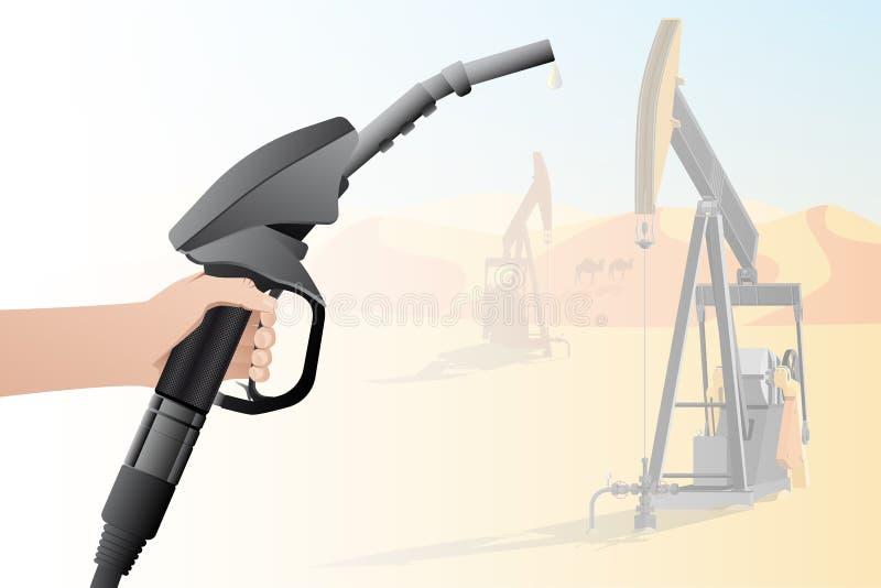 Mão com um bocal de combustível ilustração do vetor