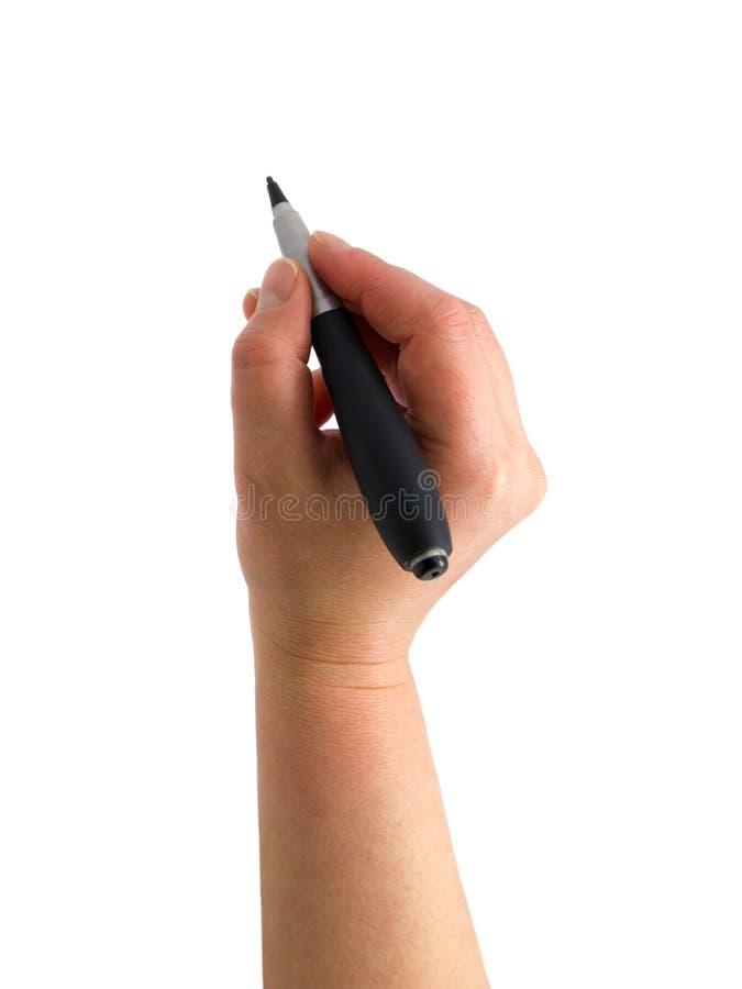 A mão com um desenho da pena