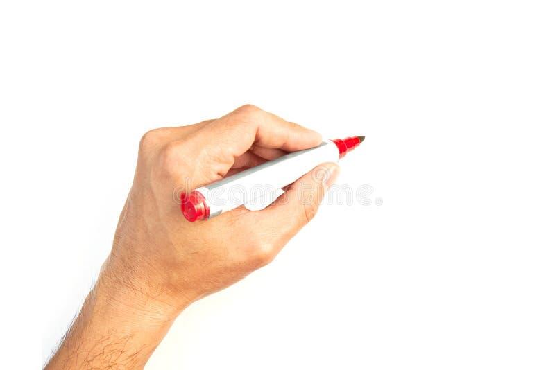 Mão com um marcador isolado fotografia de stock royalty free