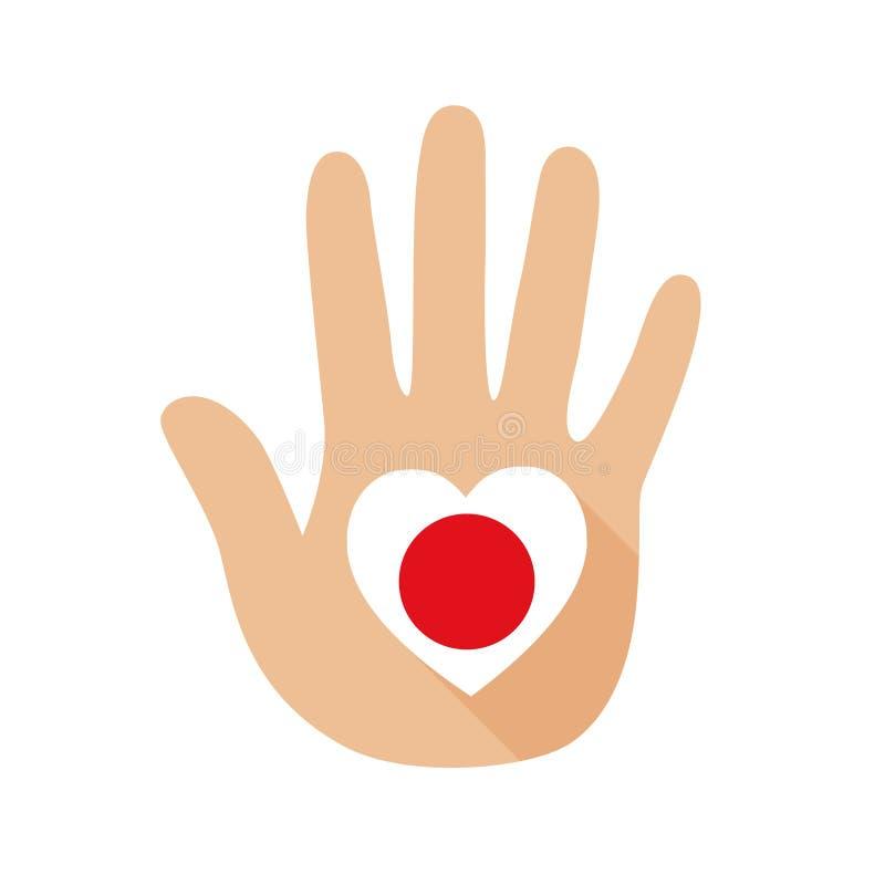 Mão com uma forma do coração e uma bandeira de Japão Engrena o ícone ilustração do vetor