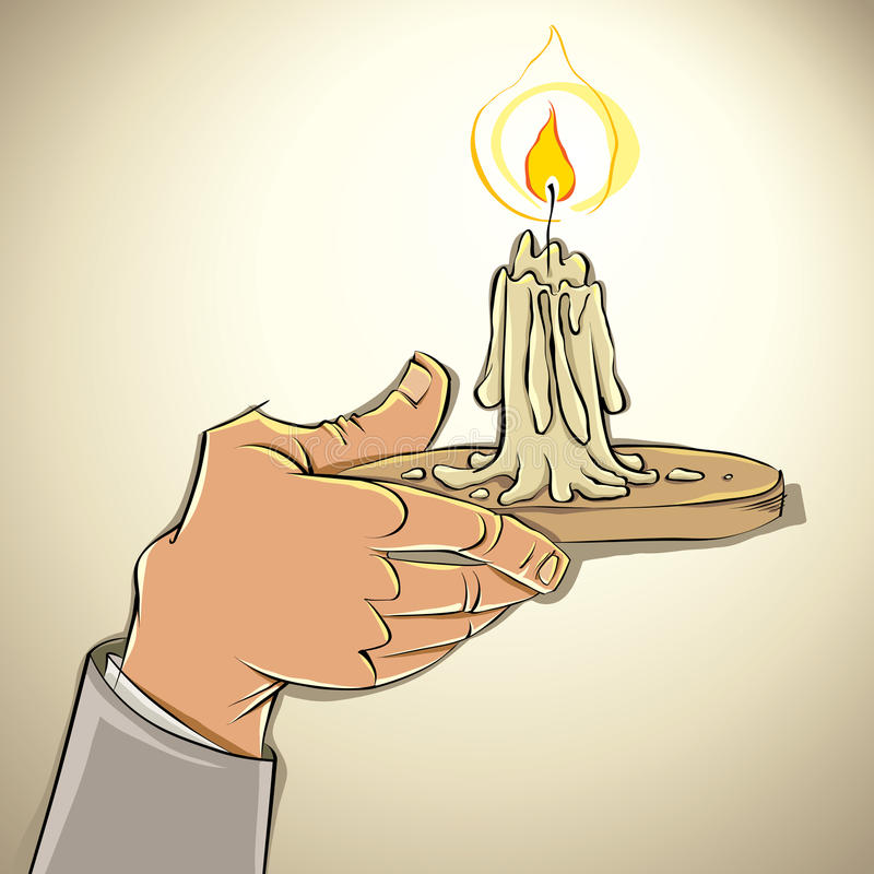 Mão com vela. ilustração stock