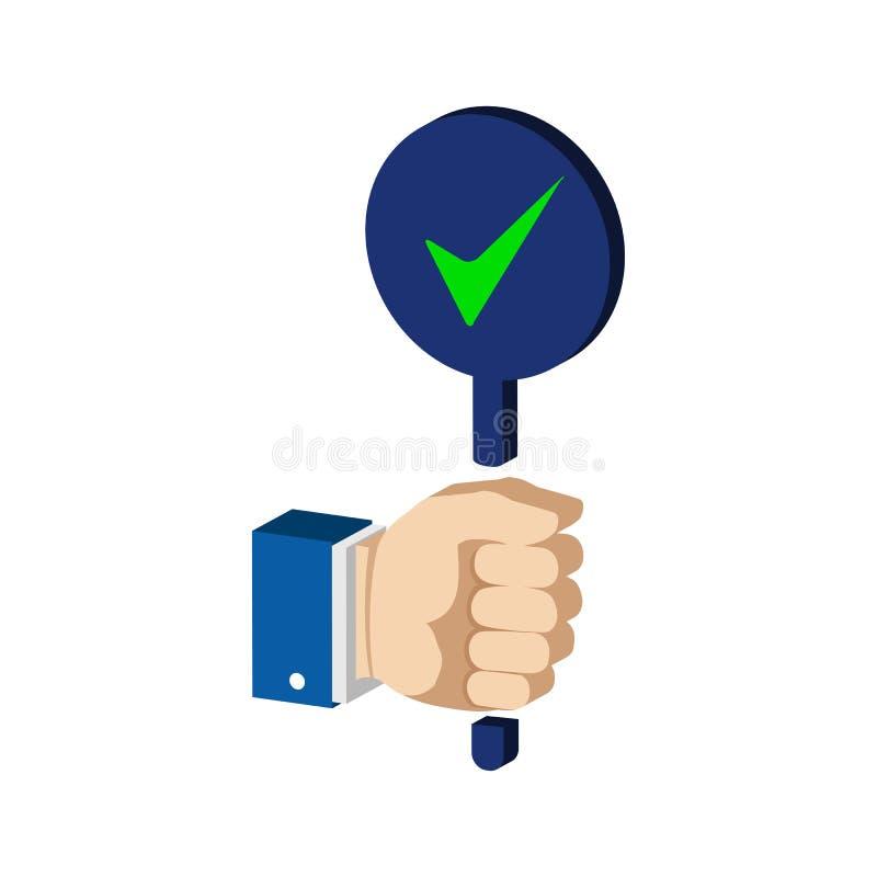 A mão com verdadeiro, aceita o sinal Ícone ou logotipo isométrico liso ilustração do vetor