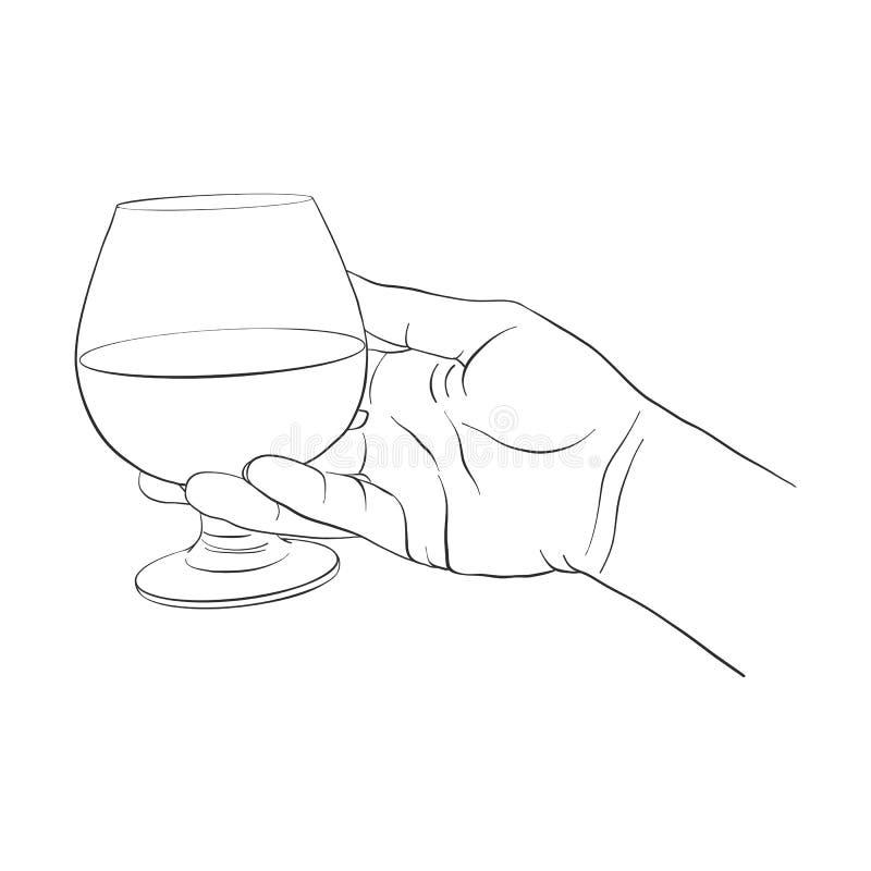 Mão com vidro do conhaque ilustração stock