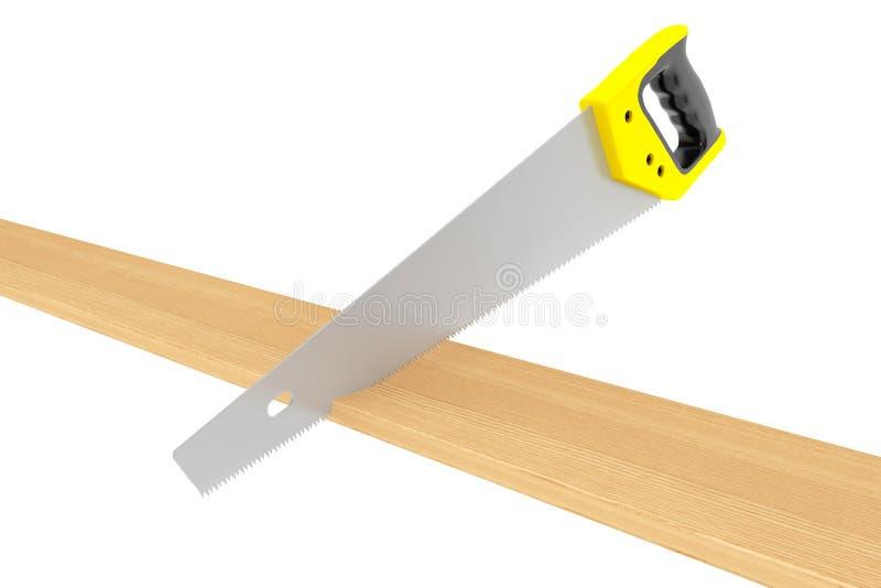 A mão considerou a placa da ferramenta e da madeira fotografia de stock