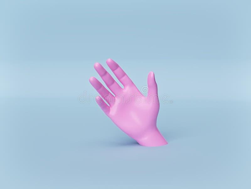 Mão cor-de-rosa realística no fundo azul pastel conceito mínimo das mãos amiga parte do corpo do manequim rendi??o 3d ilustração stock