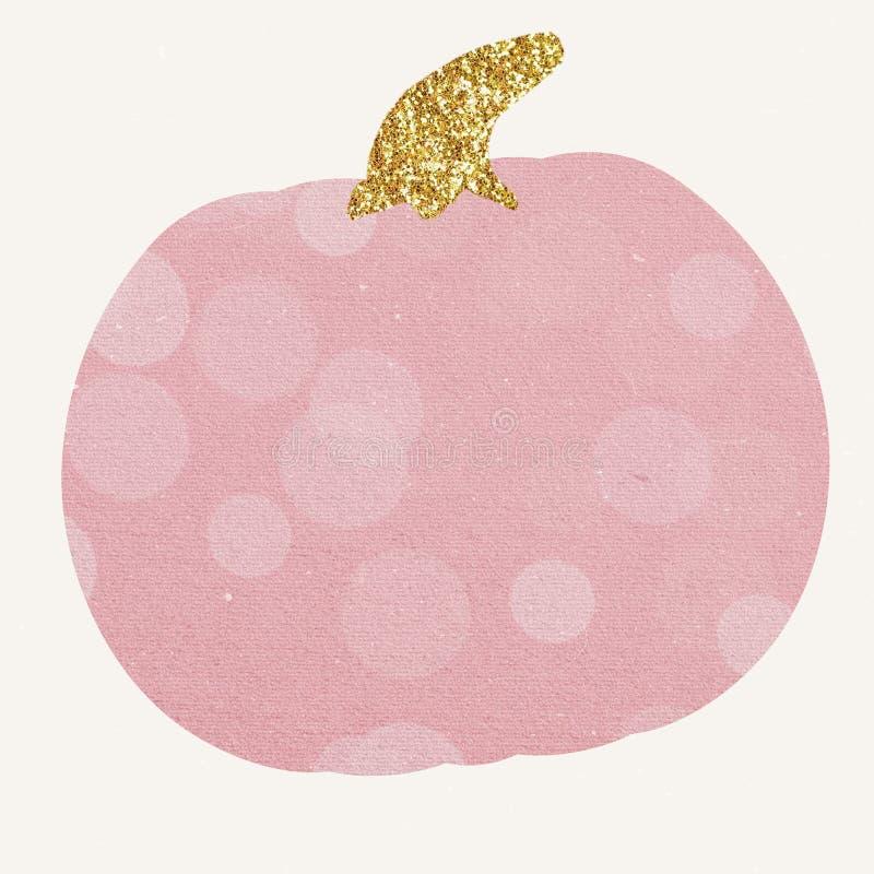 A mão crafted a arte finala cor-de-rosa decorativa da abóbora de Dia das Bruxas ilustração stock