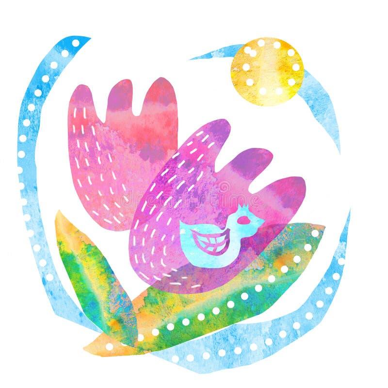 Mão criativa molde tirado do cartão com flores ilustração royalty free