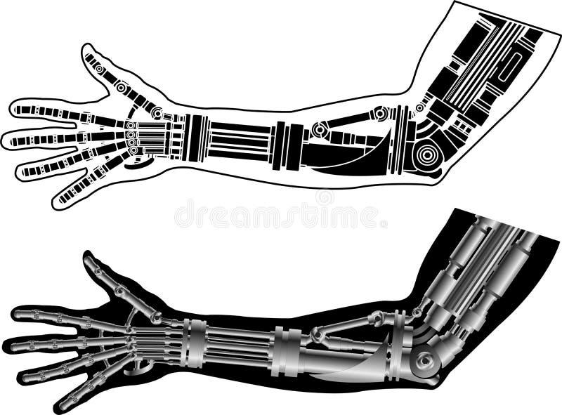 Mão Cybernetic com estêncil ilustração do vetor