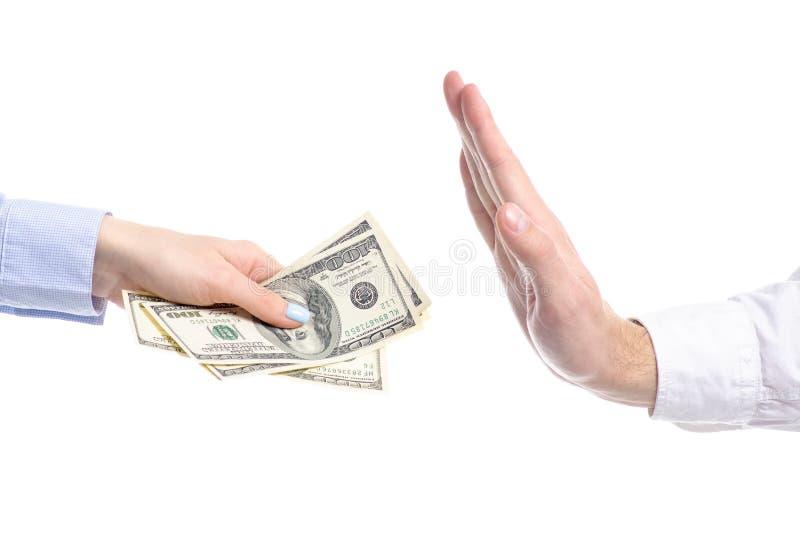 A mão dá dólares da falha da corrupção do subôrno do dinheiro para entregar foto de stock royalty free