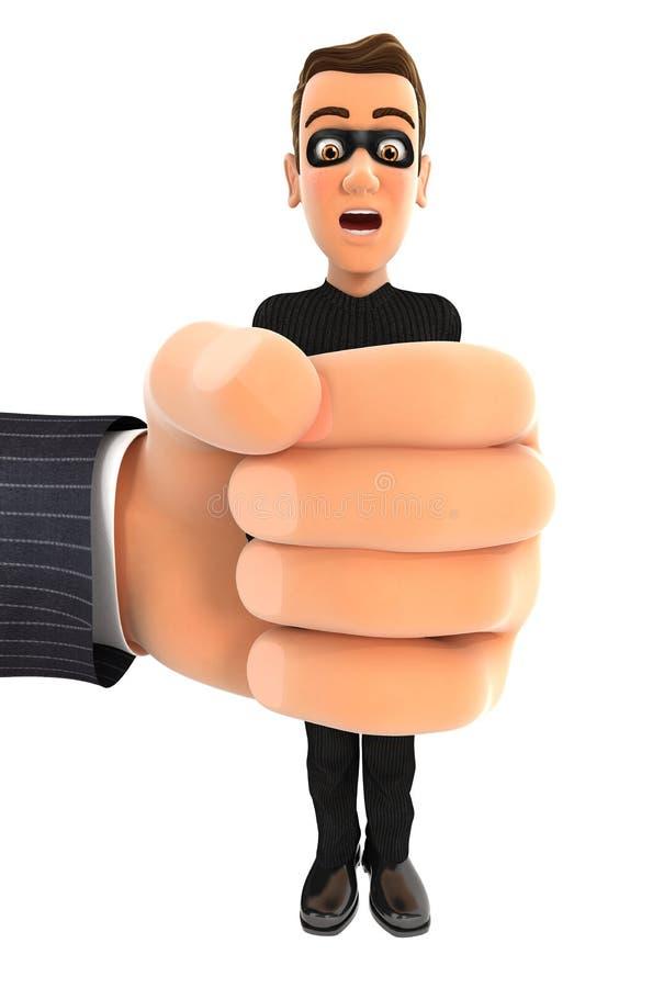 mão 3d grande que espreme o ladrão ilustração stock