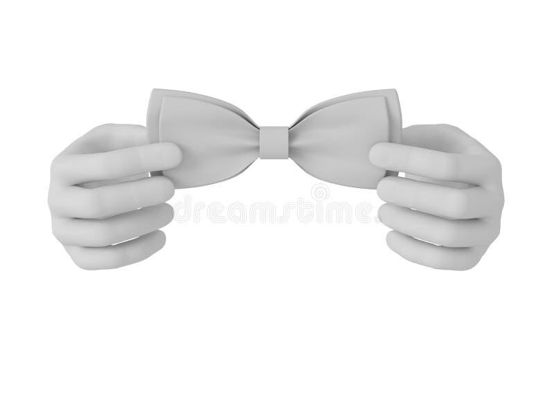 a mão 3d humana branca endireita o laço Fundo branco ilustração stock