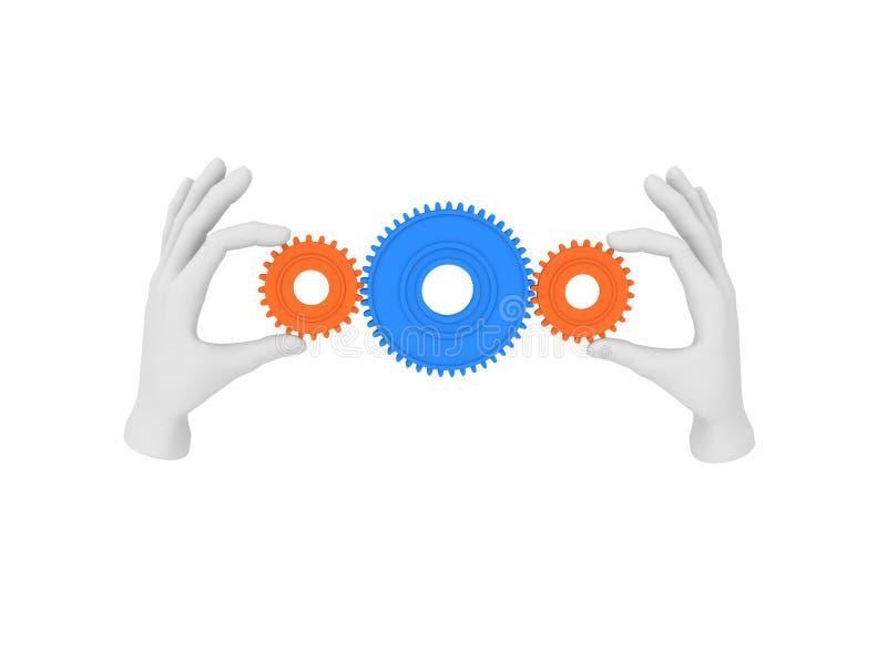a mão 3d humana branca guarda a engrenagem (a roda denteada) ilustração 3D Vagabundos brancos ilustração stock