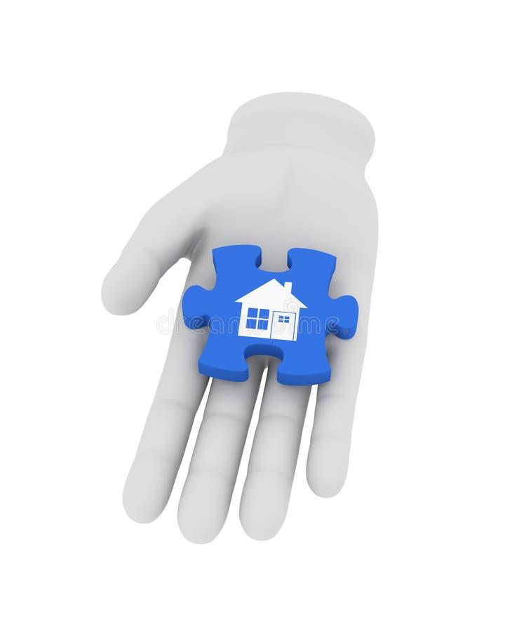 a mão 3d humana branca guarda o enigma azul com símbolo illustrati 3d ilustração royalty free