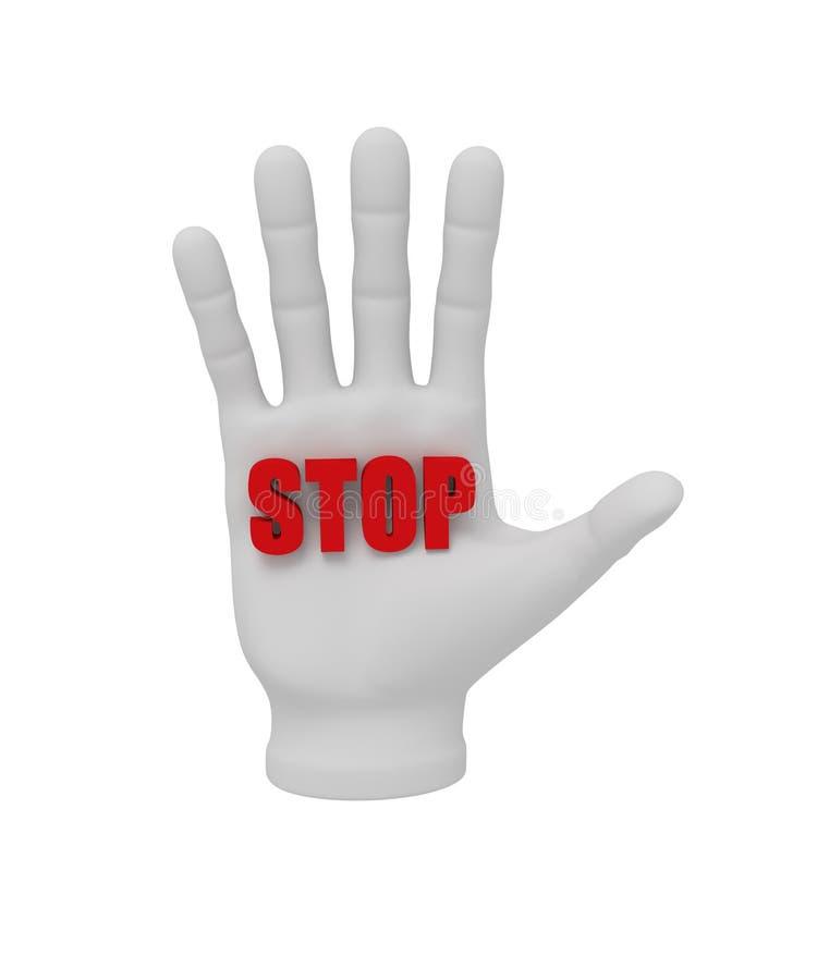 mão 3d humana branca que guarda a parada 3d da palavra Fundo branco ilustração stock