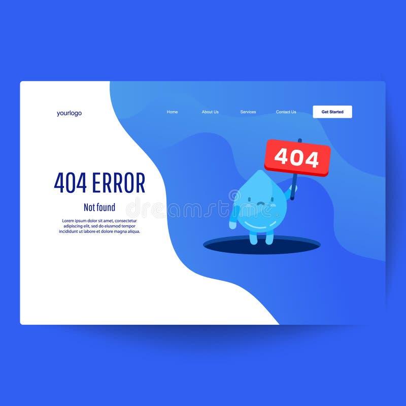A mão da água da gota mostra do furo que uma mensagem sobre a página não encontrou o erro 404 ilustração royalty free