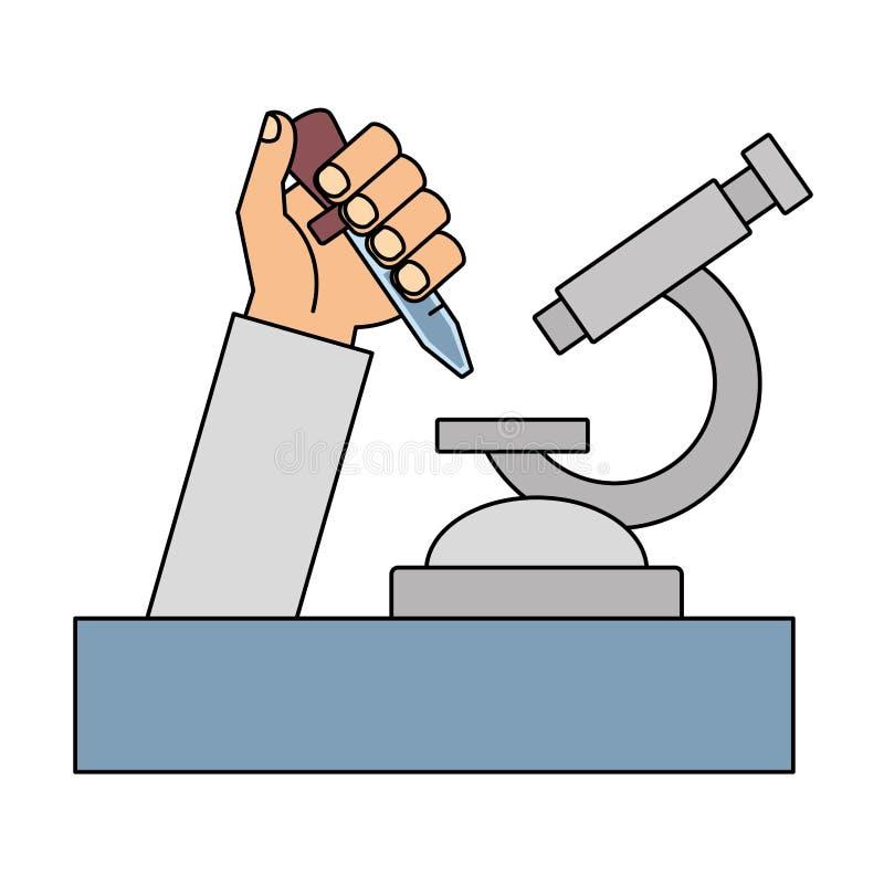 Mão da ciência com pipeta ilustração royalty free