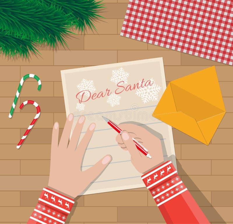 Mão da criança com letra da escrita da pena a Papai Noel ilustração stock